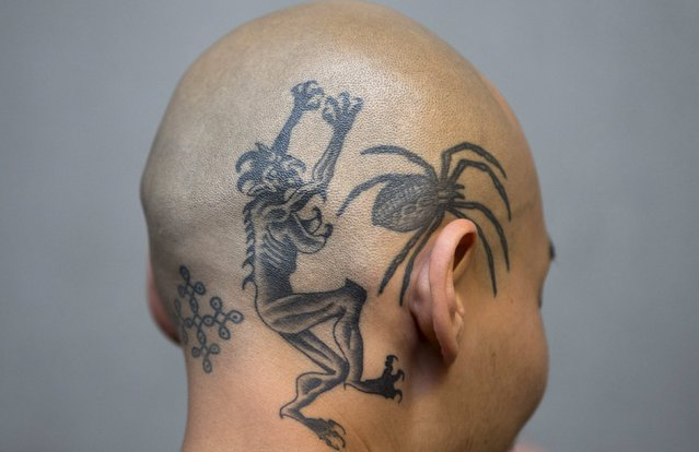 A tattoo enthusiast displays his head tattoos during the International London Tattoo Convention in east London, Britain September 26, 2015. (Photo by Neil Hall/Reuters)