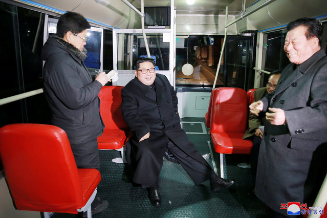North Korean leader Kim Jong Un attends the trial of a trackless tramway, in this undated photo released by North Korea's Korean Central News Agency (KCNA) in Pyongyang February 4, 2018. (Photo by Reuters/KCNA)