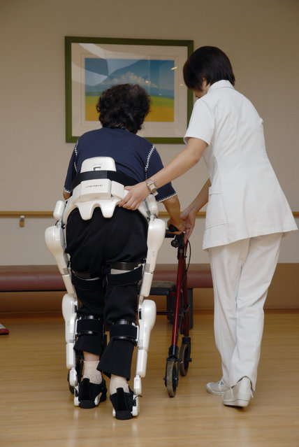 HAL – a exo sceleton, a robot suit for rehabilitation. (Photo by Prof. Sankai University of Tsukuba/CYBERDYNE Inc. )