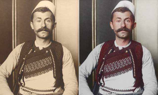Albanian soldier circa 1910 in a brimless felt cap is known as a qeleshe, whose shape was largely determined by region and molded to one's head. His vest is decorated with embroidered braids of silk or cotton; its color and decoration denote the region where the wearer is from and his social rank. (Photo by Augustus Francis Sherman/New York Public Library/The Guardian)