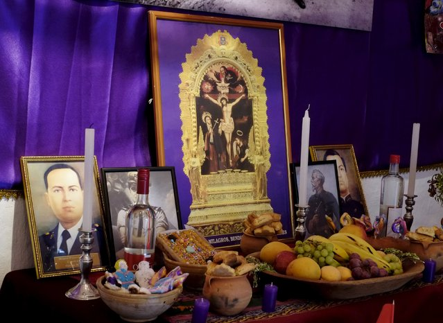A Peruvian offering for All Saints Day is displayed in the Tambo Qirquincha cultural center in La Paz, Bolivia, October 31, 2015. (Photo by David Mercado/Reuters)
