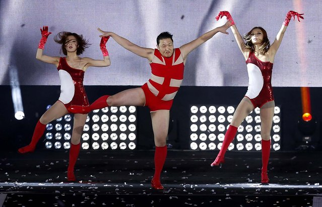 "PSY performs at his concert ""Happening"" in Seoul, on April 13, 2013. The South Korean pop star's first new single since his viral hit ""Gangnam Style"" is stealing attention from inter-Korean tensions. (Photo by Kin Cheung/Associated Press)"