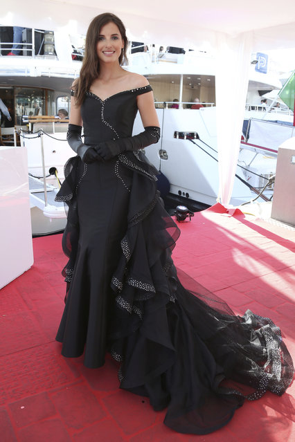 Miss Poland attends the Planet Fashion TV and Laurent Perrier Cocktails and Couture Soiree with Transitions Lenses at the 71st international film festival, Cannes, southern France, Saturday, May 12, 2018. (Photo by Planet Fashion TV/AP Images)