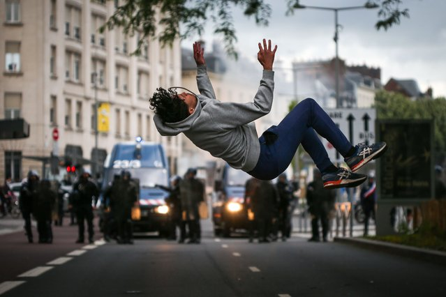 A protester during a protest against police violence and in memory of late US citizen Georges Floyd as and french citizen Adama Traore in Rouen, Normandy, on June 05, 2020. (Photo by Maxime Le Pihif/SIPA Press)