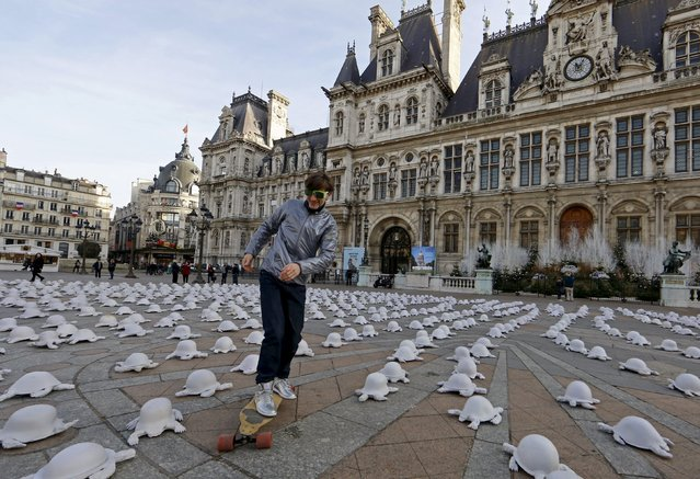 A man rides a skateboard through French artist Rachid Khimoune's installation which features a thousand turtle-shaped sculptures in front of the city hall in Paris, France December 19, 2015. (Photo by Jacky Naegelen/Reuters)