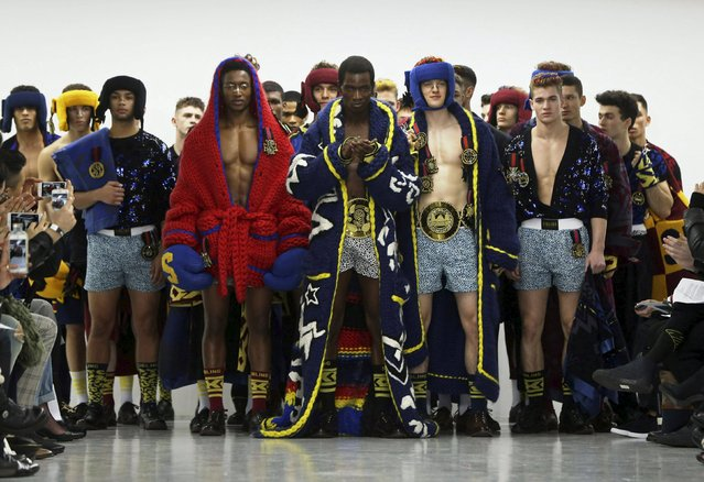 "Models present creations from the SIBLING catwalk show at the ""London Collections: Men"" Autumn/Winter 16 in London, Britain January 9, 2016. (Photo by Neil Hall/Reuters)"