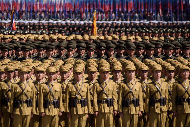 Korean People's Army (KPA) soldiers take part in a mass rally on Kim Il Sung square in Pyongyang on September 9, 2018. (Photo by Ed Jones/AFP Photo)