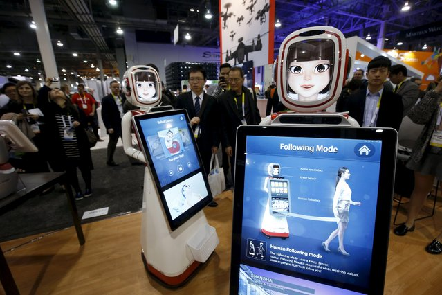 Furo-D (Display) robots by South Korean-based Future Robot are shown during the 2016 CES trade show in Las Vegas, Nevada January 8, 2016. The advertising service robots can both provide and collect information, a representative said. (Photo by Steve Marcus/Reuters)