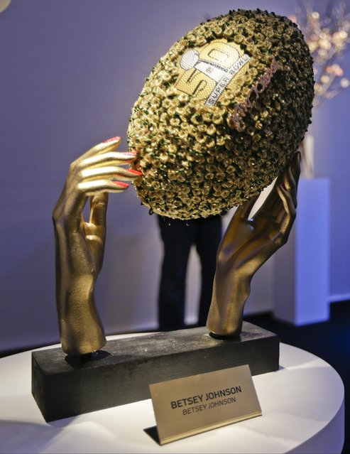 A football designed by Betsey Johnson is shown at the unveiling of the CFDA Footballs, Wednesday, January 20, 2016, at the NFL headquarters in New York. (Photo by Frank Franklin II/AP Photo)