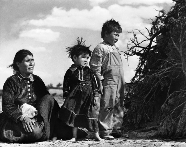 A Navajo mother and her children bask in the sun outside their brush shelter near Torreon, New Mexico, December 29, 1948. The shelters are set up as the Navajos move from place to place with the flocks. Though the Navajos are enjoying greater benefits this winter than they did last year, due to higher prices for their lambs and a good pinon nut crop, their over-all needs are the same as ever – education, hospitalization and adequate relief for the blind, aged and crippled, and economic development. (Photo by AP Photo)
