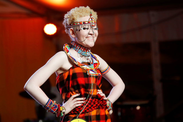 A participant poses on the catwalk during the Mr & Miss Albinism Kenya Beauty Pageant 2018 in Nairobi, Kenya, November 30, 2018. (Photo by Baz Ratner/Reuters)