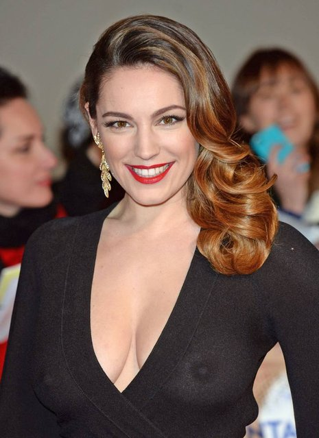 Kelly Brook arriving for the 2014 National Television Awards at the O2 Arena, London, on January 23, 2014. (Photo by XposurePhotos.com)