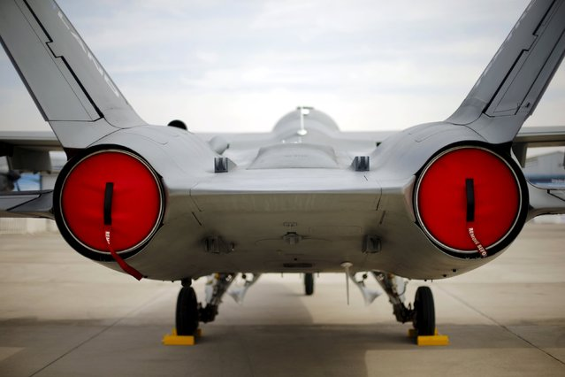 A fighter jet is seen parked ahead of the International Air and Space Fair (FIDAE) at Santiago international airport, March 28, 2016. (Photo by Ivan Alvarado/Reuters)