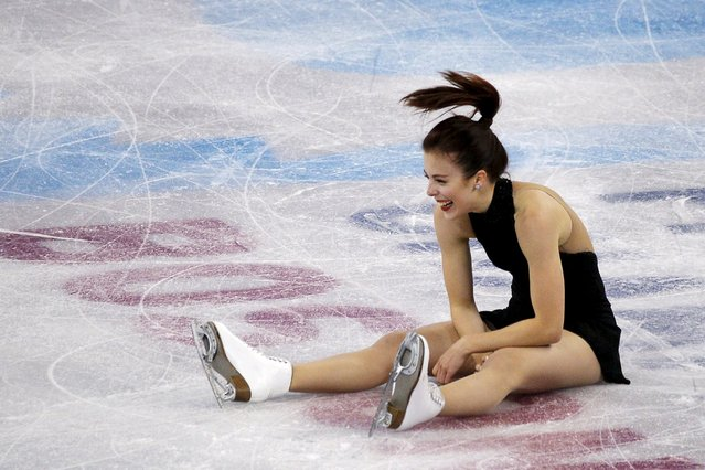 Figure Skating, ISU World Figure Skating Championships, Ladies Short Program, Boston, Massachusetts, United States on March 31, 2016: Ashley Wagner of the United States stumbles and falls while celebrating after competing. (Photo by Brian Snyder/Reuters)