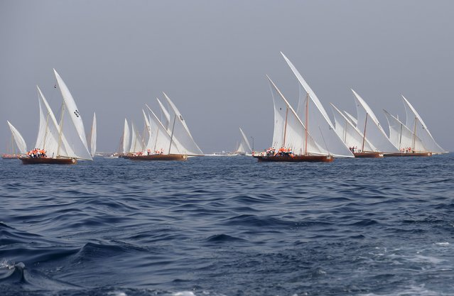 Sailors take the start in the Al Gaffal Dhow Race in Dubai, United Arab Emirates May 23, 2015. (Photo by Ahmed Jadallah/Reuters)
