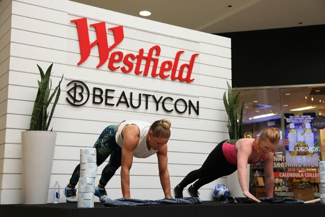 Fitness expert Kaisa Keranan demonstrates a workout during Beauty & Balance at Westfield Valley Fair on March 4, 2017 in Santa Clara, California. (Photo by Kelly Sullivan/Getty Images for Westfield)