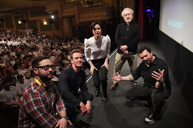"(L-R) Producer & Senior Programmer of SXSW Jarod Neece, actors Michael Fassbender, Katherine Waterston, director Sir Ridley Scott, and actor Danny McBride attend the ""Alien"" premiere 2017 SXSW Conference and Festivals on March 10, 2017 in Austin, Texas. (Photo by Matt Winkelmeyer/Getty Images for SXSW)"