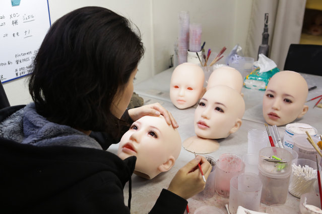 Make-up painters prepares the love dolls on March 9, 2017 in Tokyo, Japan. (Photo by Taro Karibe/Getty Images)