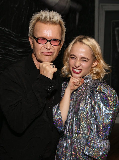 """Billy Idol and Sophia Anne Caruso backstage at """"Beetlejuice The Musical"""" on Broadway at the Winter Garden Theatre on July 30, 2019 in New York City. (Photo by Walter McBride/Getty Images)"""