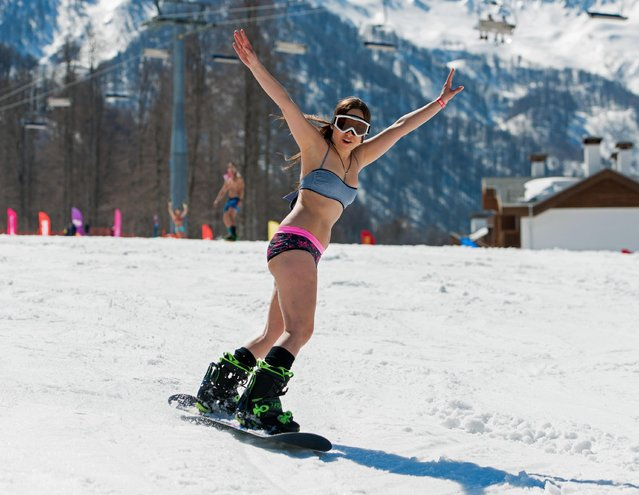 A girl dressed in a swimsuit participates in the BoogelWoogel alpine carnival at the Rosa Khutor Alpine Resort in Krasnaya Polyana, Sochi, Russia on April 1, 2017. (Photo by Artur Lebedev/TASS)