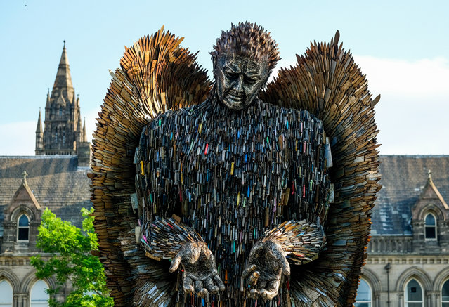 The Knife Angel sculpture is installed in the Centre Square in Middlesbrough on August 06, 2019 in Middlesbrough, England. The 27ft sculpture is being brought to Middlesbrough for four weeks as a reminder of the devastation caused by knife crime. The Knife Angel was created by The British Ironwork Centre and is made from over 100,000 discarded knives and confiscated weapons from police forces across the country. (Photo by Ian Forsyth/Getty Images)