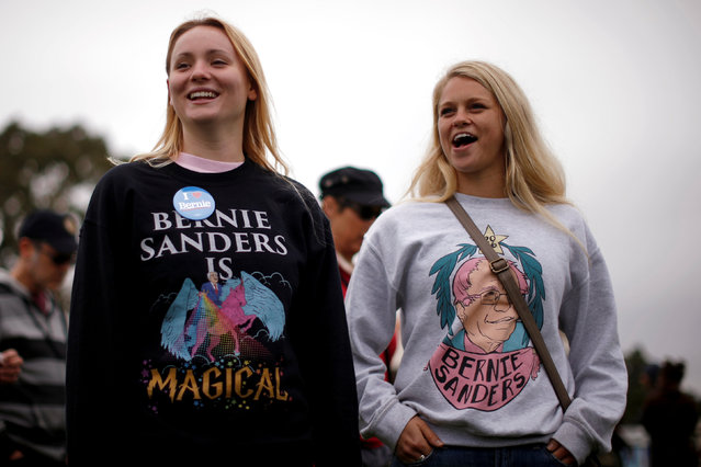 Supporters wait for U.S. Democratic presidential candidate Bernie Sanders to speak at a campaign rally in Santa Barbara, California, U.S. May 28, 2016. (Photo by Lucy Nicholson/Reuters)