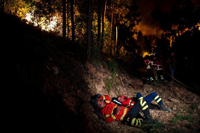 Firefighters rest during a wildfire at Penela, Coimbra, central Portugal, on June 18, 2017. (Photo by Patricia De Melo Moreira/AFP Photo)