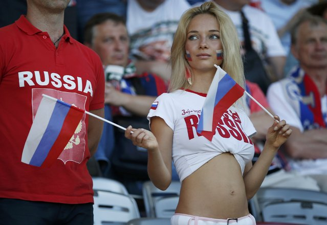 Football Soccer, Russia vs Wales, EURO 2016, Group B, Stadium de Toulouse, Toulouse, France on June 20, 2016. A Russian fan cheers before the match. (Photo by Sergio Perez/Reuters)