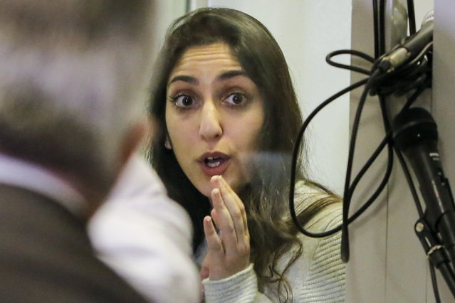 Israeli Naama Issachar gestures during an appeal hearings in a courtroom in Moscow, Russia, Thursday, December 19, 2019. An Israeli backpacker serving prison time in Russia on a drug conviction is appealing her case and says she was wasn't provided a translator or lawyer after being detained at a Moscow airport. She was arrested in April in Moscow's Sheremetyevo Airport, where she was transferring flights en route from India to Israel. More than nine grams of hashish were found in her luggage. She was later sentenced to 7 1/2 years. (Photo by Alexander Zemlianichenko Jr./AP Photo)