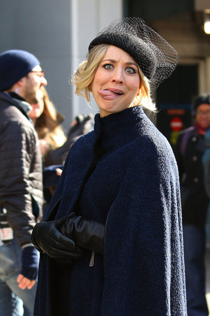 """Kaley Cuoco goofs around for the cameras while looking fashionable filming her upcoming TV show """"The Flight Attendant"""" in Manhattan on February 12, 2020. (Photo by LRNYC/The Mega Agency)"""