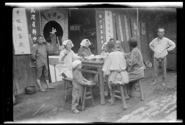 Funeral Feast. China, An Xian, 1917-1919. (Photo by Sidney David Gamble)