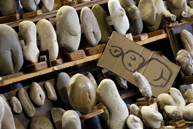 """A part of the stone collection of Luigi Lineri, called """"Grande Madre"""" (Great Mother), is seen at his home workshop in Zevio, near Verona, Italy, June 10, 2016. (Photo by Alessandro Bianchi/Reuters)"""