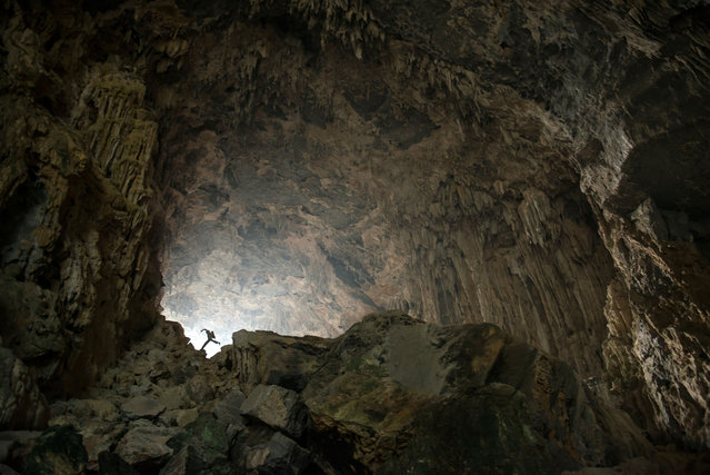 Caving expedition in China, Guangxi province. (Photo by Francois-Xavier De Ruydts/Caters News)