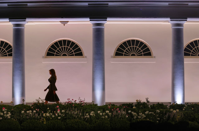 U.S. first lady Melania Trump walks along the colonnade before addressing the Republican National Convention from the Rose Garden at the White House on August 25, 2020 in Washington, DC. The convention is being held virtually due to the coronavirus pandemic but will include speeches from various locations including Charlotte, North Carolina and Washington, DC. (Photo by Alex Wong/Getty Images)