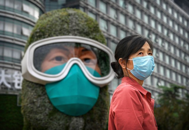 A Chinese woman poses for a photo in front of a flower display dedicated to frontline health care workers during the COVID-19 pandemic that was created with other floral decorations in advance of the country's national holidays, also known as Golden week on September 28, 2020 in Beijing, China. China will celebrate national day marking the founding of the People's Republic of China on October 1st.(Photo by Kevin Frayer/Getty Images)