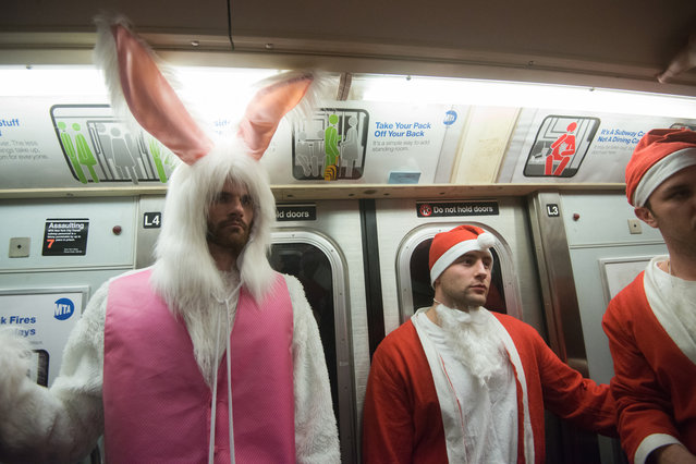 Men dressed as a Santa ride the subway with a man dressed as the Easter Bunny during the annual SantaCon pub crawl December 12, 2015 in the Brooklyn borough of New York City. (Photo by Stephanie Keith/Getty Images)