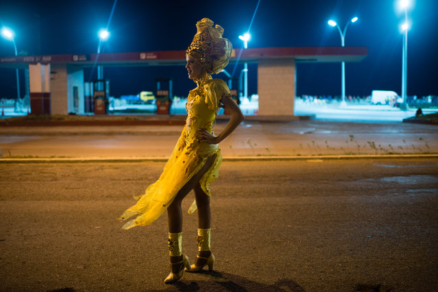 Yakelin Hernandez, 18, poses for a photograph near The Malecon where The Carnival was held, on August 14, 2015. Colorful costumes, dancing, parades and street parties on the Malecon in Havana, Cuba are all part of Havana Carnival 2015 which was held in August. (Photo by Sarah L. Voisin/The Washington Post)