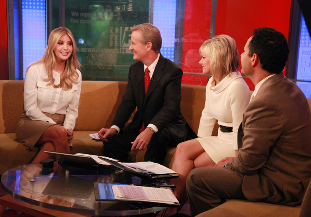 (L-R) Ivanka Trump talks to 'FOX & Friends' hosts Steve Doocy, Gretchen Carlson and Brian Kilmeade during a taping of FOX & Friends' at FOX Studios on November 29, 2011 in New York City. (Photo by Astrid Stawiarz/Getty Images)