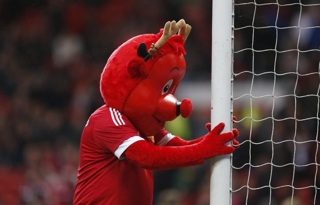 Football Soccer, Manchester United vs Norwich City, Barclays Premier League, Old Trafford, December 19, 2015: Manchester United mascot Fred the Red before the game. (Photo by Carl Recine/Reuters/Action Images)
