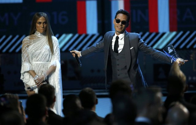 Marc Anthony accepts an award honoring him as Latin Recording Academy person of the year from presenter Jennifer Lopez at the 17th Annual Latin Grammy Awards in Las Vegas, Nevada, U.S., November 17, 2016. (Photo by Mario Anzuoni/Reuters)