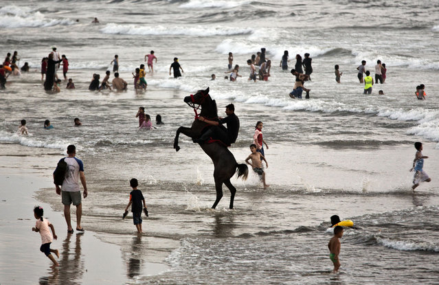 A man rides a horse while others swim on the beach of Gaza City, Friday, August 3, 2018. (Photo by Khalil Hamra/AP Photo)