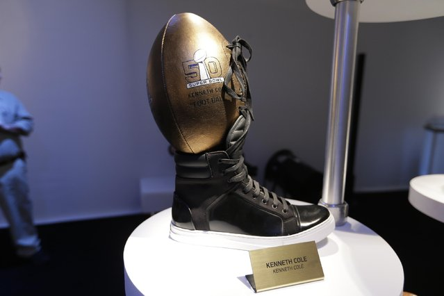 A Kenneth Cole designed football is displayed at the unveiling of the CFDA Footballs Wednesday, January 20, 2016, at the NFL headquarters in New York. (Photo by Frank Franklin II/AP Photo)