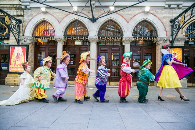 Picture shows Snow White (Megan Cassidy) (right) with the Seven Dwarfs  at a photocall for Snow White and the Seven Dwarfs which is taking place at the Gaiety Theatre and runs from 1st December2013 to 12th January 2014. (Photo by Naoise Culhane/PA Wire)