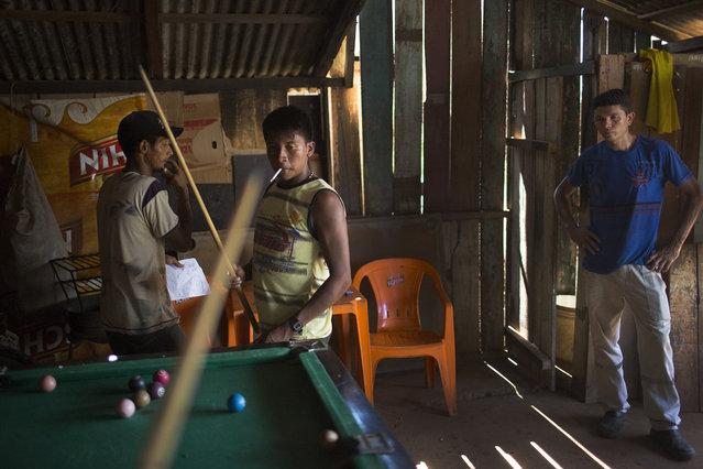 Bekre, a young Xikrin man, plays pool with friends in an Altamira bar. (Taylor Weidman)