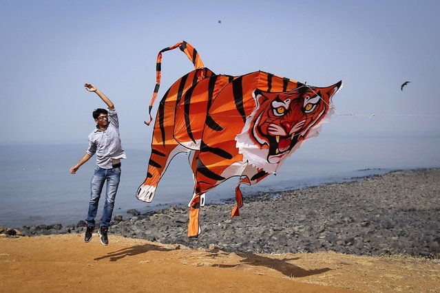 A participant runs with a large tiger-shaped kite as he prepares to fly it at the International Kite Festival in Mumbai, India, Wednesday, January 8, 2014. Kite-flyers from different countries participated in the day-long festival. (Photo by Danish Siddiqui/Reuters)