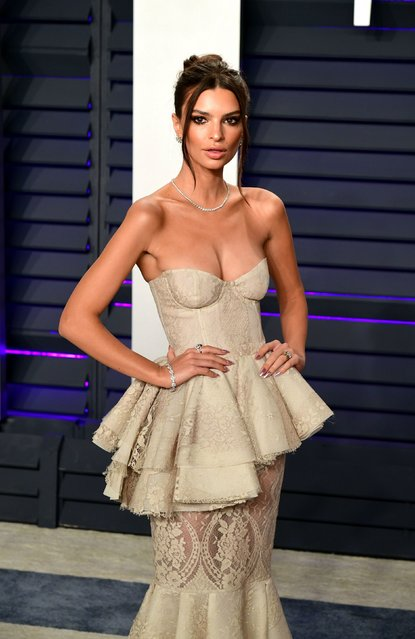 Emily Ratajkowski attends the 2019 Vanity Fair Oscar Party hosted by Radhika Jones at Wallis Annenberg Center for the Performing Arts on February 24, 2019 in Beverly Hills, California. (Photo by PA Wire Press Association)