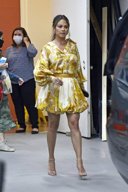 American actress Vanessa Lachey wore a colorful dress as she is seen exiting ABC studios after promoting her new show NCIS: Hawai'i in New York City on September 27, 2021. (Photo by Backgrid USA)