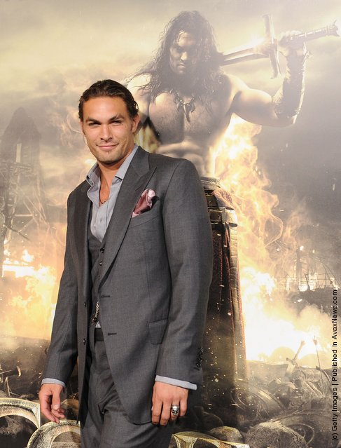 Jason Momoa attends the world premiere of Conan The Barbarian