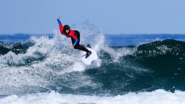 Peony Knight surfing in the Women's Open Final at the Caravan & Motorhome Club English National Surfing Championships held at Perranporth, Cornwall, UK on May 5, 2019. (Photo by Graham Stone/Shutterstock)