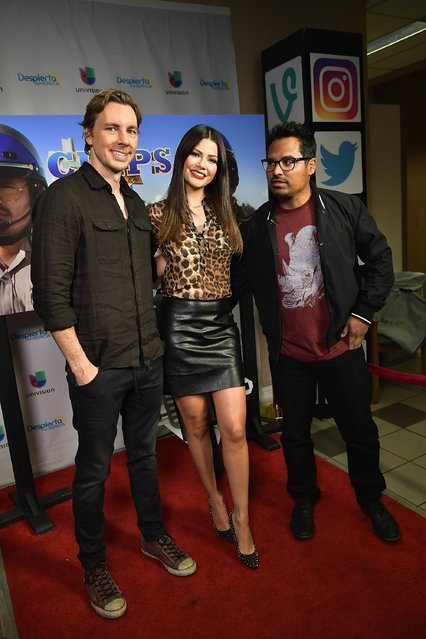 "Dax Shepard, Ana Patricia Gamez and Michael Pena are seen on the set of ""Despierta America"" to promote the film ""CHIPS"" on March 1, 2017 in Miami, Florida. (Photo by Gustavo Caballero/Getty Images)"